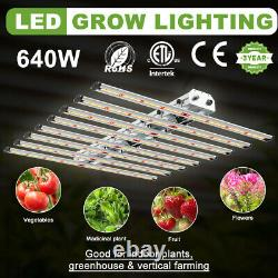 8Bar 640W Dimmable LED Grow Light withSamsung 561C Quantum 660nm Spider Lamp Board