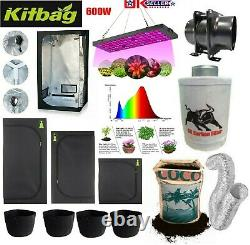 Complete Grow Tent Kit All Sizes Grow Light 600w LED led Fan Set up 1.2 or. 80