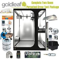 Complete Two Room Perpetual Grow Tent Kit with600W Sealed HPS, Filter, Fan & more