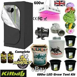 Hydroponic Complete Grow Tent Kit = All Sizes Grow Light 600w LED led Fan Set up