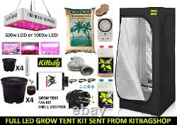 Hydroponic Complete Grow Tent Kit All Sizes Grow Light 600w Led 1000w Set up