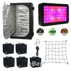 LED Grow Light Complete Grow Tent Kit Fabric Pots Scrog Net Full Spectrum 600w
