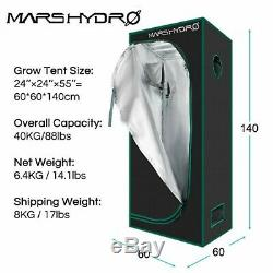 Mars Hydro TS 600W LED Grow Light+Carbon Filter Combo+GrowZelt Tent Complete Kit